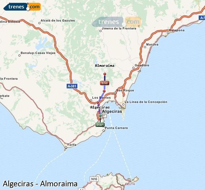 Ingrandisci la mappa Treni Algeciras Almoraima