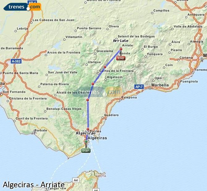Ingrandisci la mappa Treni Algeciras Arriate