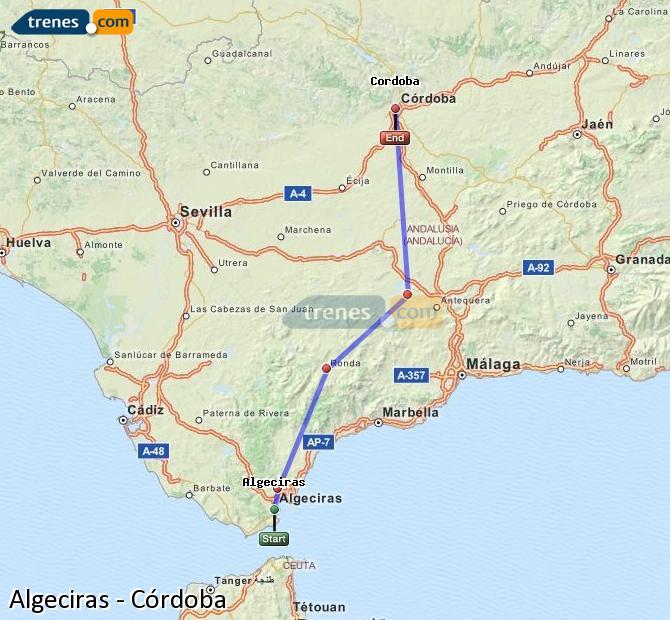 Ampliar mapa Trenes Algeciras Córdoba