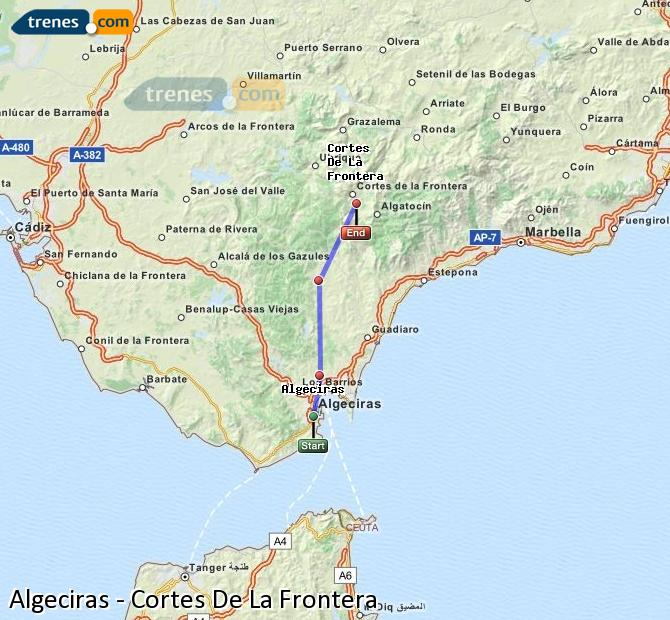 Enlarge map Trains Algeciras to Cortes De La Frontera
