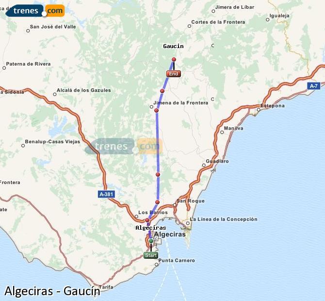 Karte vergrößern Züge Algeciras Gaucín