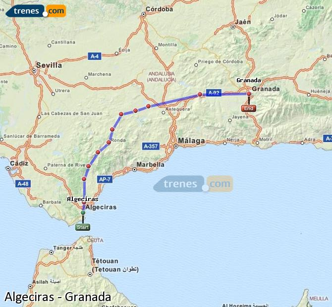 Cheap Algeciras to Granada trains tickets from 1810 Trenescom