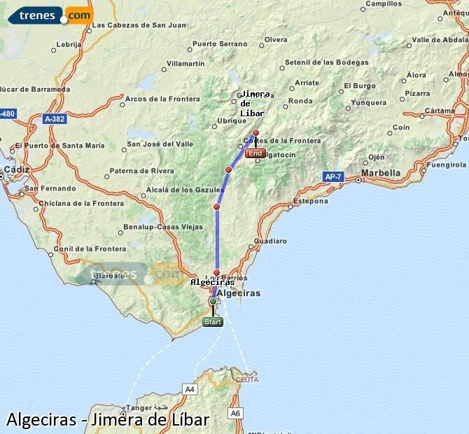 Ingrandisci la mappa Treni Algeciras Jimera de Líbar