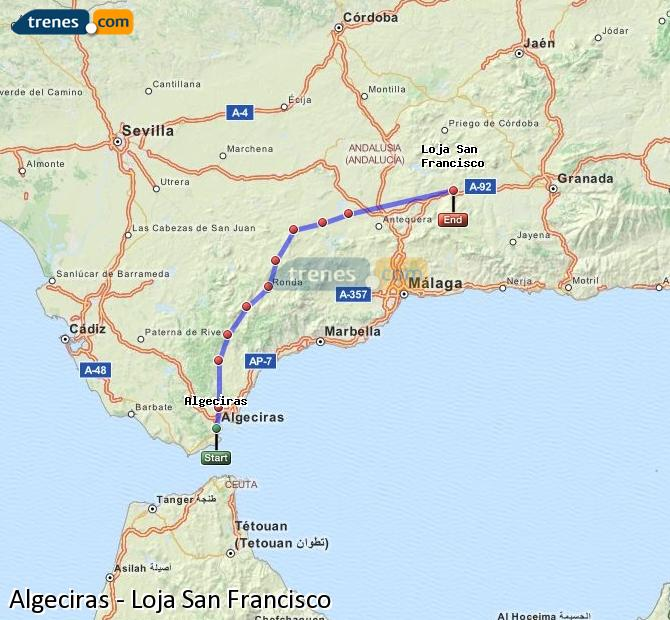 Enlarge map Trains Algeciras to Loja San Francisco