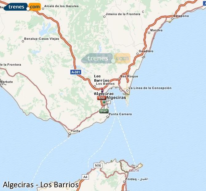 Karte vergrößern Züge Algeciras Los Barrios