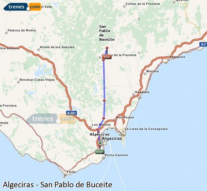 Enlarge map Trains Algeciras to San Pablo de Buceite