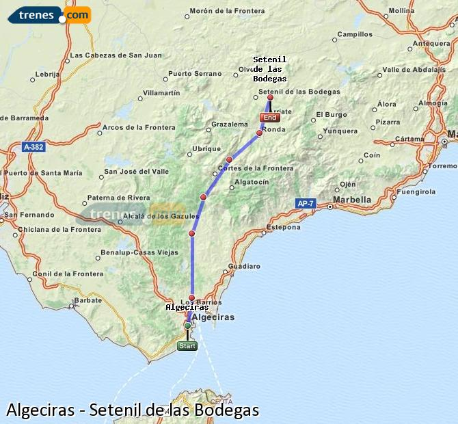 Enlarge map Trains Algeciras to Setenil de las Bodegas