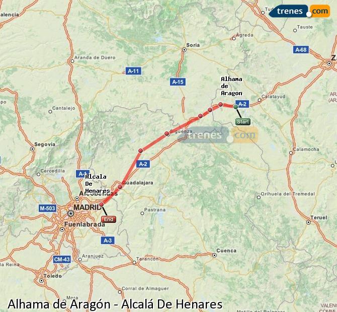 Ampliar mapa Trenes Alhama de Aragón Alcalá De Henares