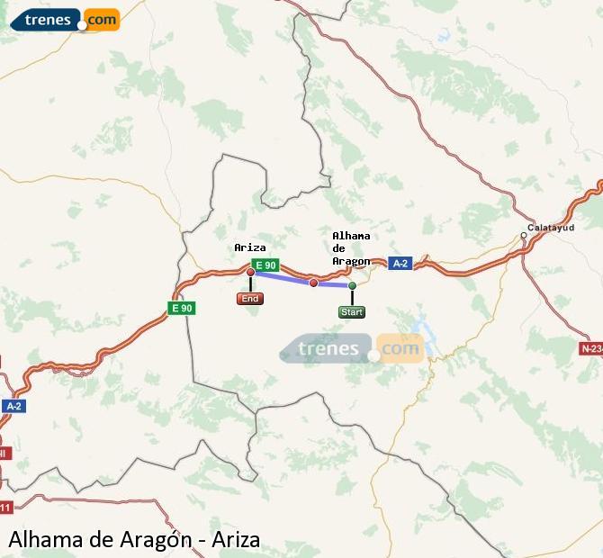 Agrandir la carte Trains Alhama de Aragón Ariza
