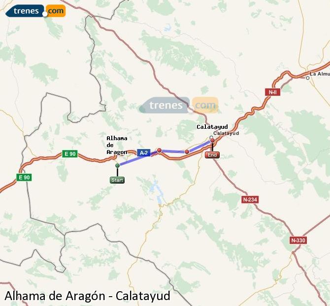 Agrandir la carte Trains Alhama de Aragón Calatayud