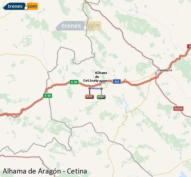 Agrandir la carte Trains Alhama de Aragón Cetina