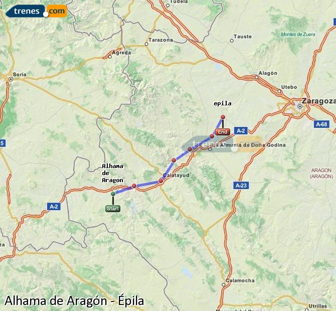 Karte vergrößern Züge Alhama de Aragón Épila