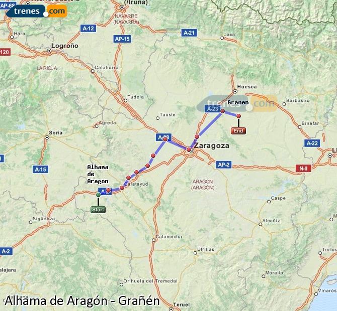 Karte vergrößern Züge Alhama de Aragón Grañén