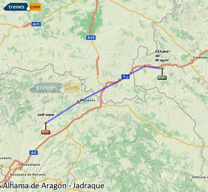 Enlarge map Trains Alhama de Aragón to Jadraque