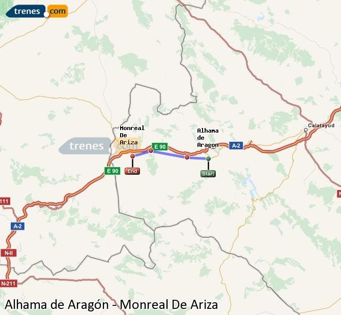 Ingrandisci la mappa Treni Alhama de Aragón Monreal De Ariza