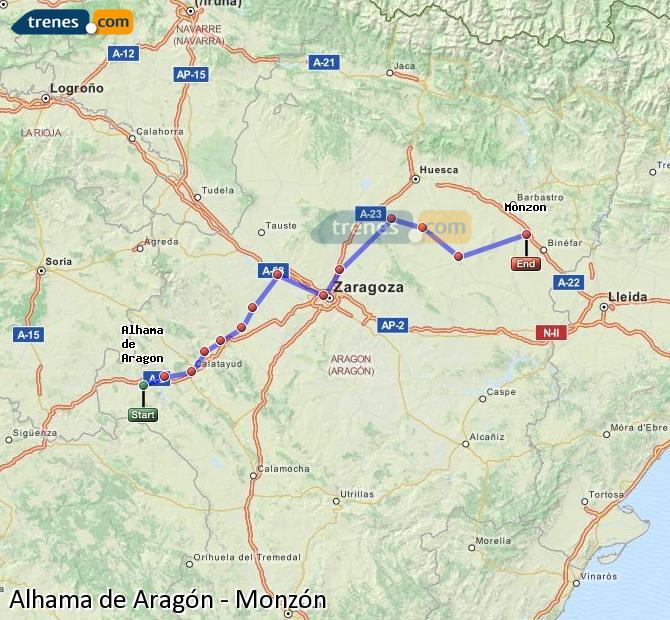 Agrandir la carte Trains Alhama de Aragón Monzón