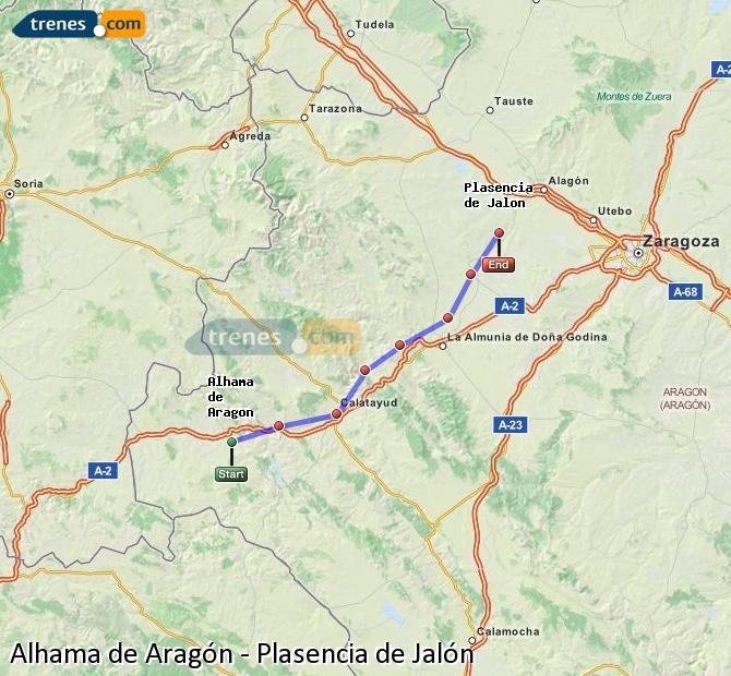 Karte vergrößern Züge Alhama de Aragón Plasencia de Jalón