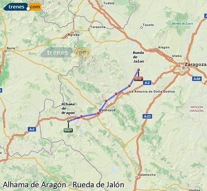Ingrandisci la mappa Treni Alhama de Aragón Rueda de Jalón