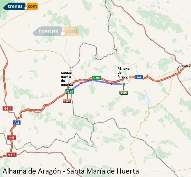 Ingrandisci la mappa Treni Alhama de Aragón Santa María de Huerta