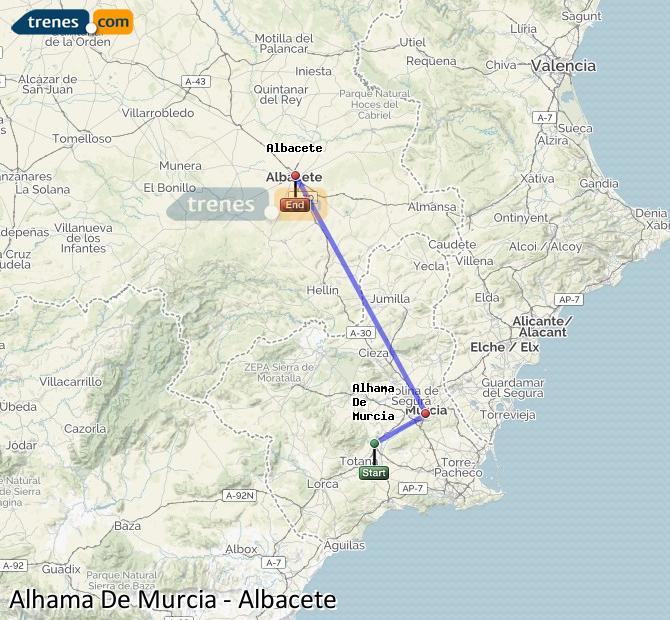 Ingrandisci la mappa Treni Alhama De Murcia Albacete
