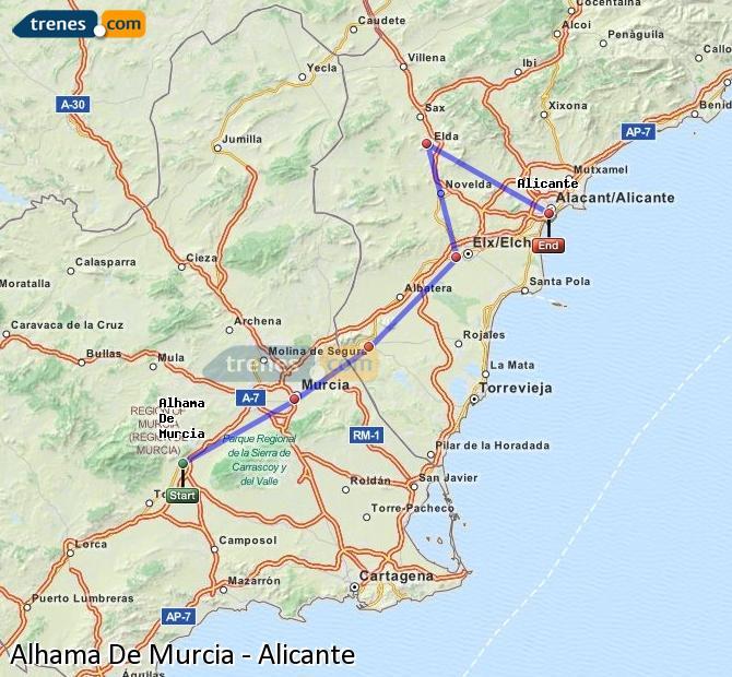 Ingrandisci la mappa Treni Alhama De Murcia Alicante