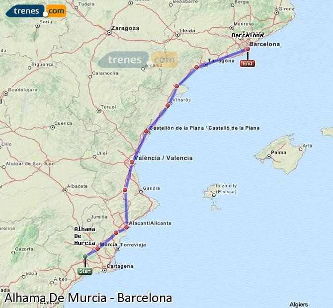 Ingrandisci la mappa Treni Alhama De Murcia Barcellona