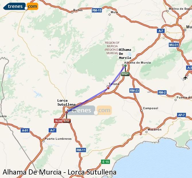 Agrandir la carte Trains Alhama De Murcia Lorca Sutullena