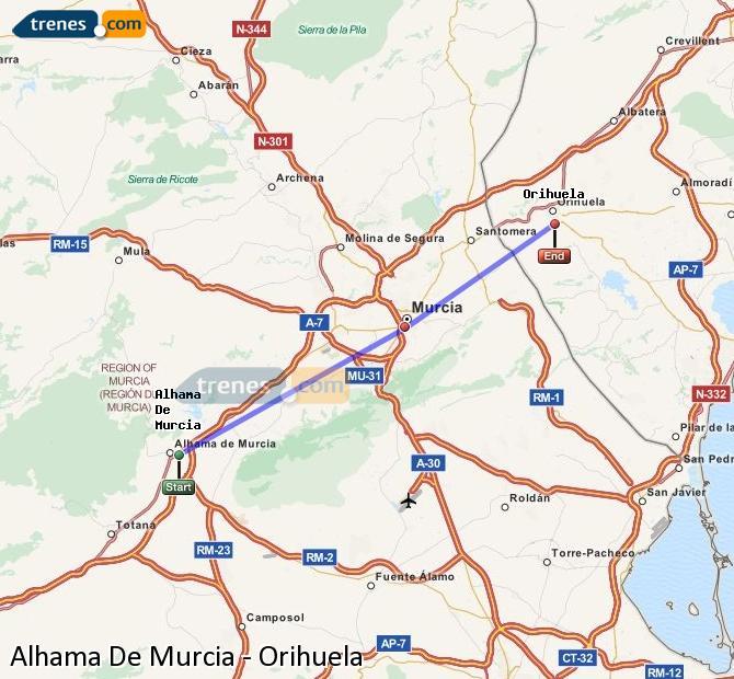 Agrandir la carte Trains Alhama De Murcia Orihuela