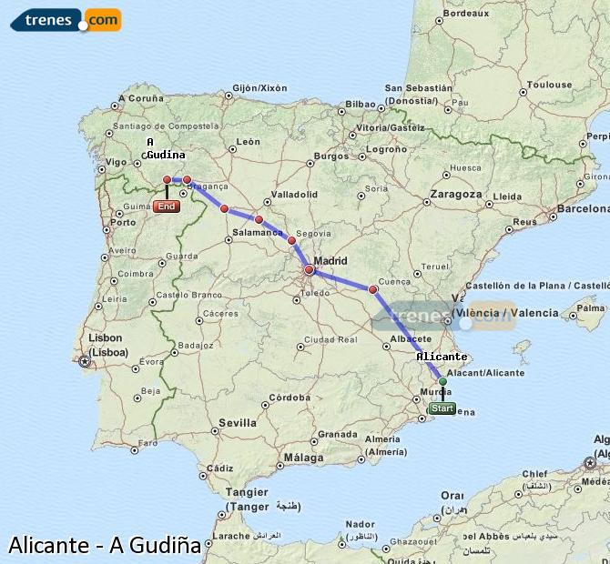 Agrandir la carte Trains Alicante A Gudiña