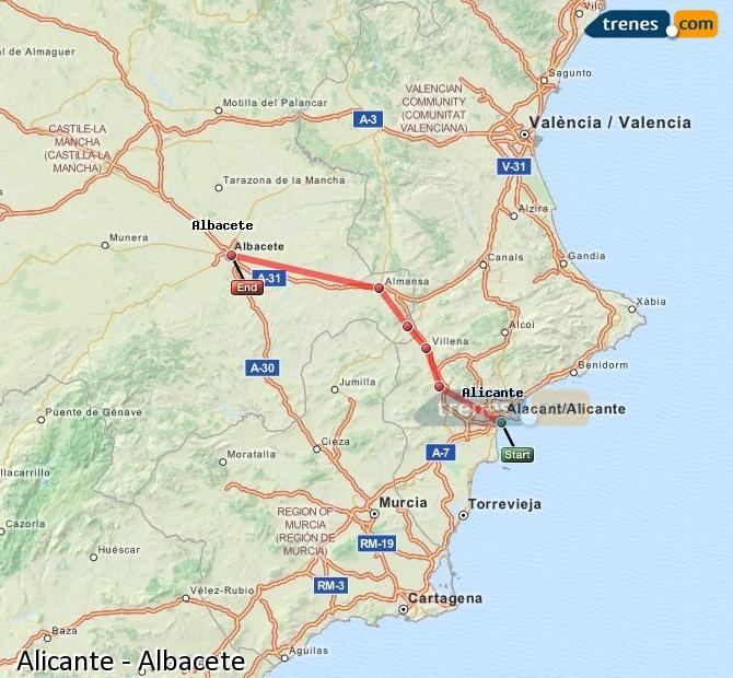 Karte vergrößern Züge Alicante Albacete
