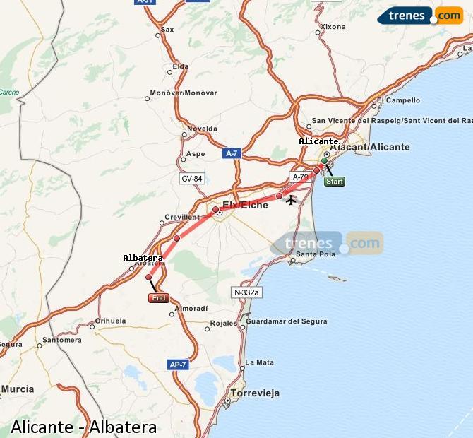 Ampliar mapa Comboios Alicante Albatera