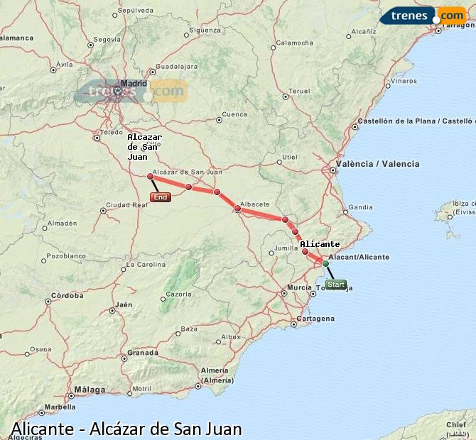 Enlarge map Trains Alicante to Alcazar de San Juan