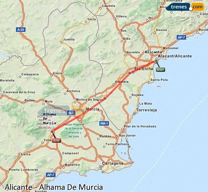 Enlarge map Trains Alicante to Alhama De Murcia