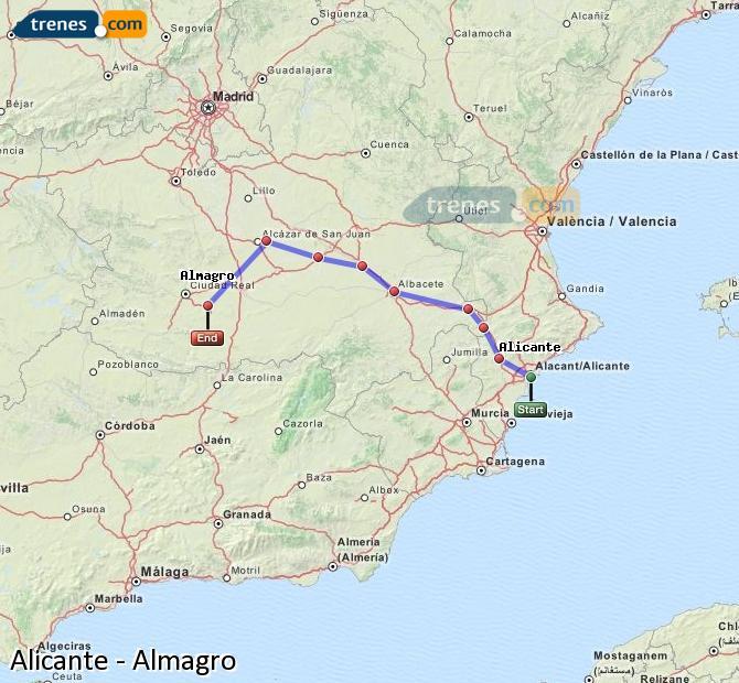 Karte vergrößern Züge Alicante Almagro
