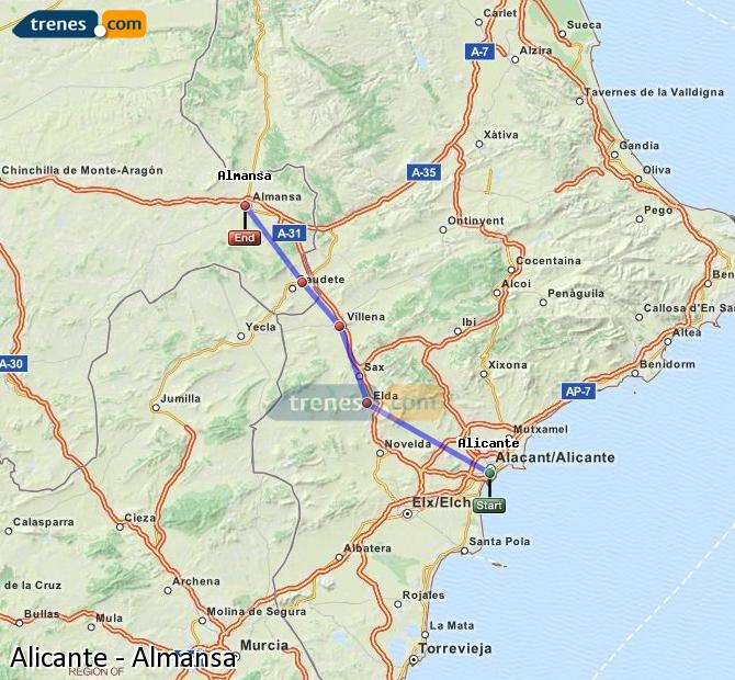 Enlarge map Trains Alicante to Almansa