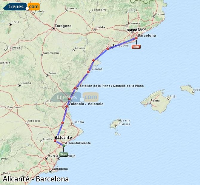 Enlarge map Trains Alicante to Barcelona