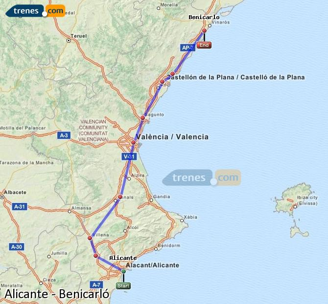 Enlarge map Trains Alicante to Benicarló