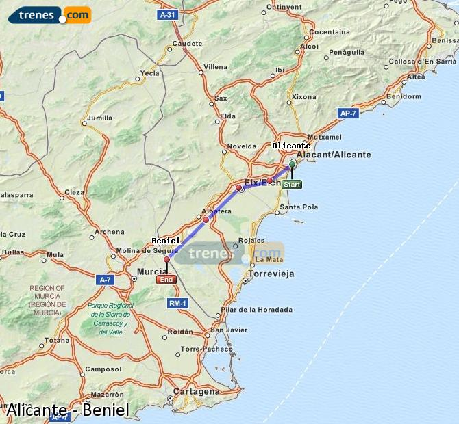 Enlarge map Trains Alicante to Beniel