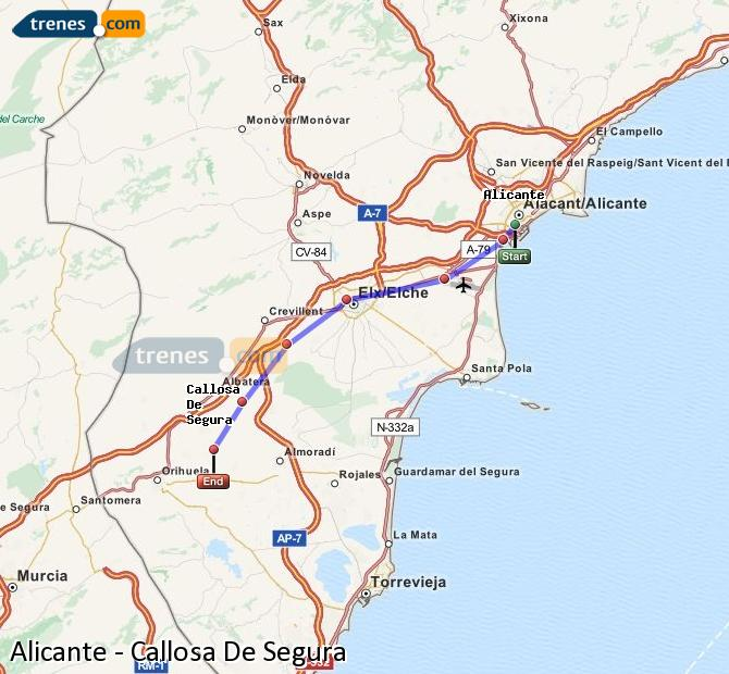Enlarge map Trains Alicante to Callosa De Segura
