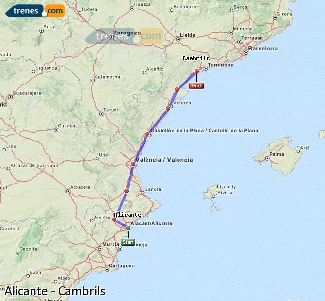 Ampliar mapa Trenes Alicante Cambrils
