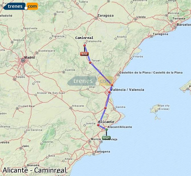 Enlarge map Trains Alicante to Caminreal