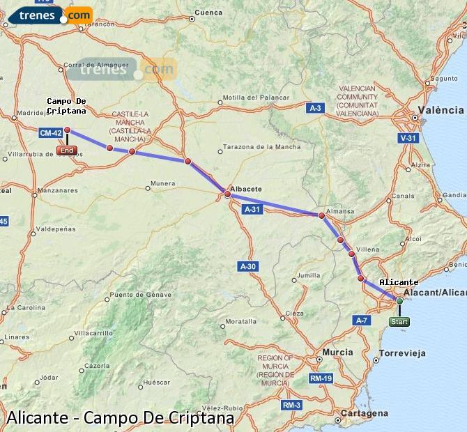 Enlarge map Trains Alicante to Campo De Criptana