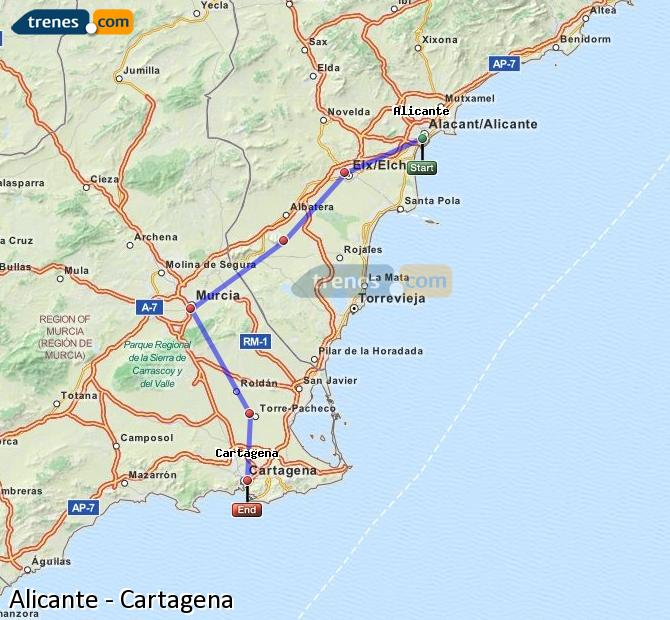 Enlarge map Trains Alicante to Cartagena