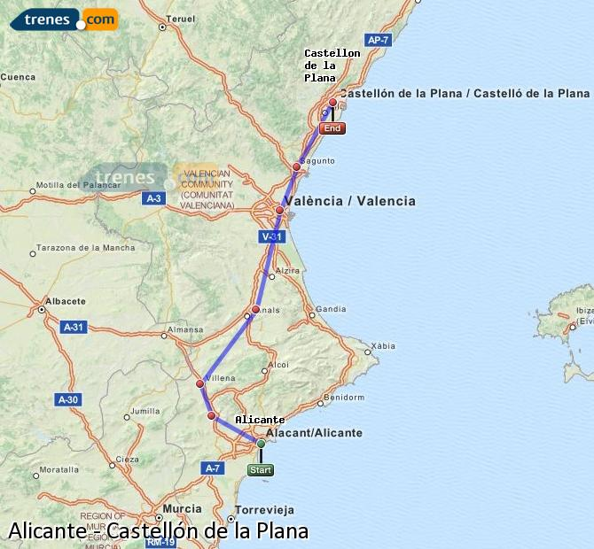 Enlarge map Trains Alicante to Castellón