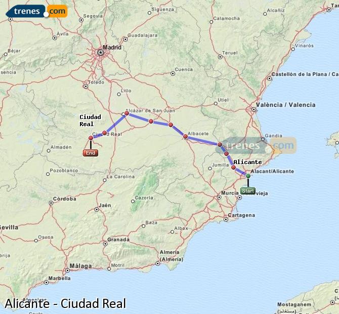 Karte vergrößern Züge Alicante Ciudad Real