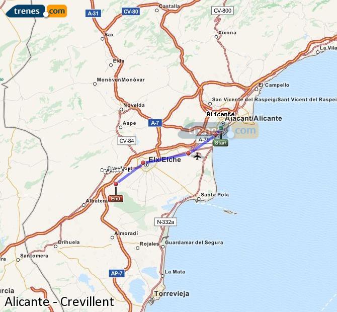 Agrandir la carte Trains Alicante Crevillent
