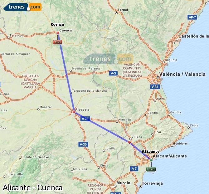 Enlarge map Trains Alicante to Cuenca