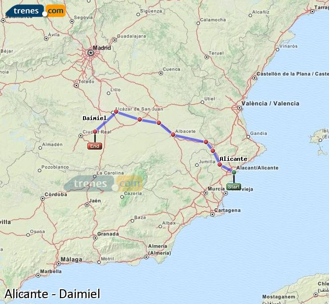 Enlarge map Trains Alicante to Daimiel