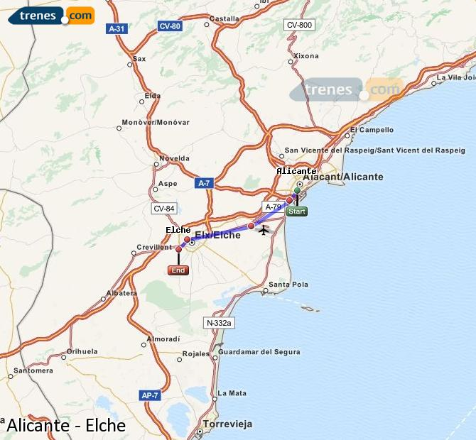 Enlarge map Trains Alicante to Elche