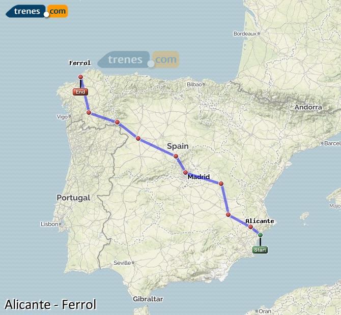 Ingrandisci la mappa Treni Alicante Ferrol